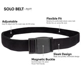 FLYT Solo Belt - Everyday Comfortable Minimalist Belt with Quick Magnetic Buckle, TSA travel friendly