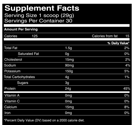 Iso-Serum Protein Isolate Supplement Facts