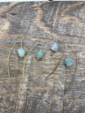 Raw aquamarine earrings in silver, gold or bronze