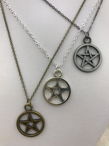 Pentagram Necklace in gunmetal, silver or bronze Wiccan jewelry