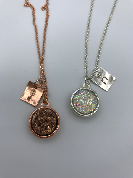 Rose gold Druzy necklace with initial