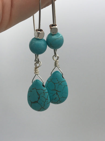 Long dangly turquoise earrings