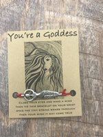 You're A Goddess Wish Bracelet, Hemp cord bracelet, sweet, bff, girlfriend, bridesmaid gift, stocking stuffer,