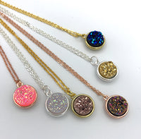 Rose Gold Faux Druzy Necklace