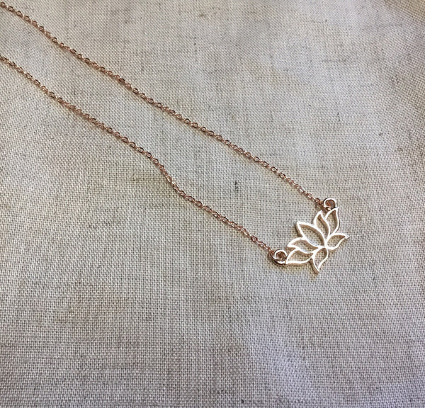 Rose gold or silver lotus flower bridesmaid necklace