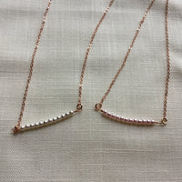 Beaded Pearl and Rose Gold Necklace, tiny pearl beaded pendant,