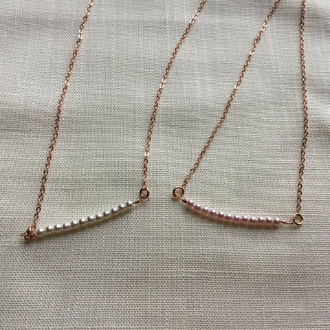 Beaded pearl and rose gold necklace tiny pearl beaded pendant beaded pearl and rose gold necklace tiny pearl beaded pendant aloadofball Image collections