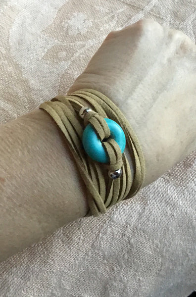 Turquoise faux suede bracelet, turquoise choker, turquoise jewelry,  customized jewelry