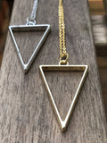 Triangle charm necklace, geometric necklace, triangle pendant, gold triangle