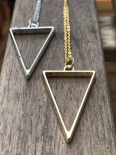 Triangle charm necklace, geometric necklace, layering necklace, layering triangle, minimalist necklace, triangle pendant, gold triangle