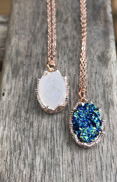 Rose gold Druzy Necklace,