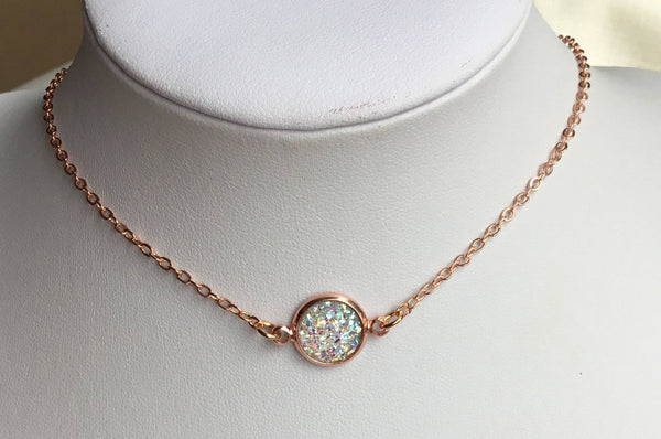 rose gold druzy choker necklace