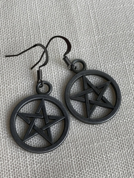 Pentagram Earrings in Gunmetal Black, Wiccan earrings