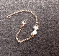 Rose Gold Kitty Cat Enamel Charm Bracelet