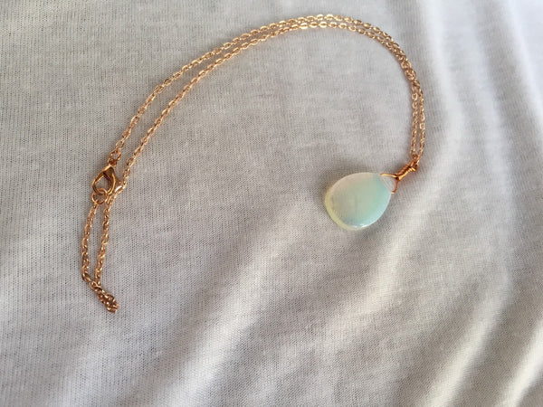 Opalite Necklace in Rose Gold, Sea Opalite Glass Pendant Necklace