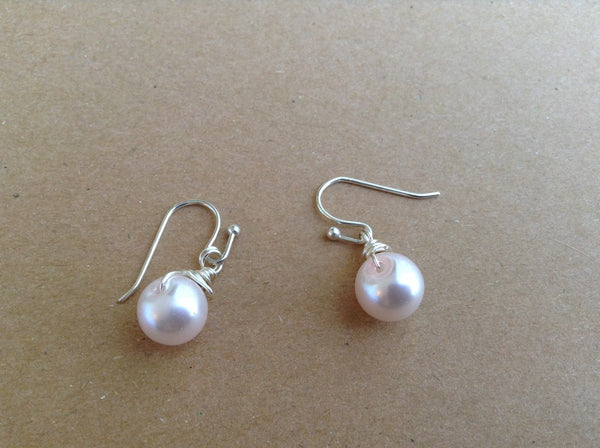 Rose Gold Earrings, Silver Earrings, Pearl Earrings, Bridesmaids Earrings,