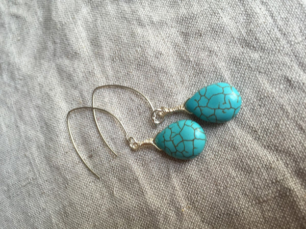 Turquoise earrings, turquoise jewelry, southwestern style earrings