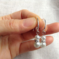 Pearl earrings, Pearl and rhinestone earrings