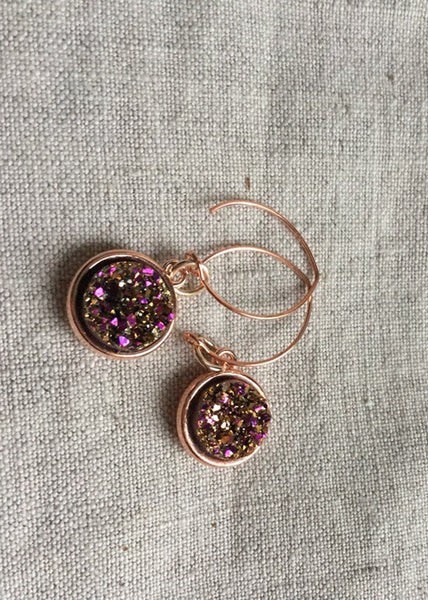 Rose gold Druzy drop Earrings,