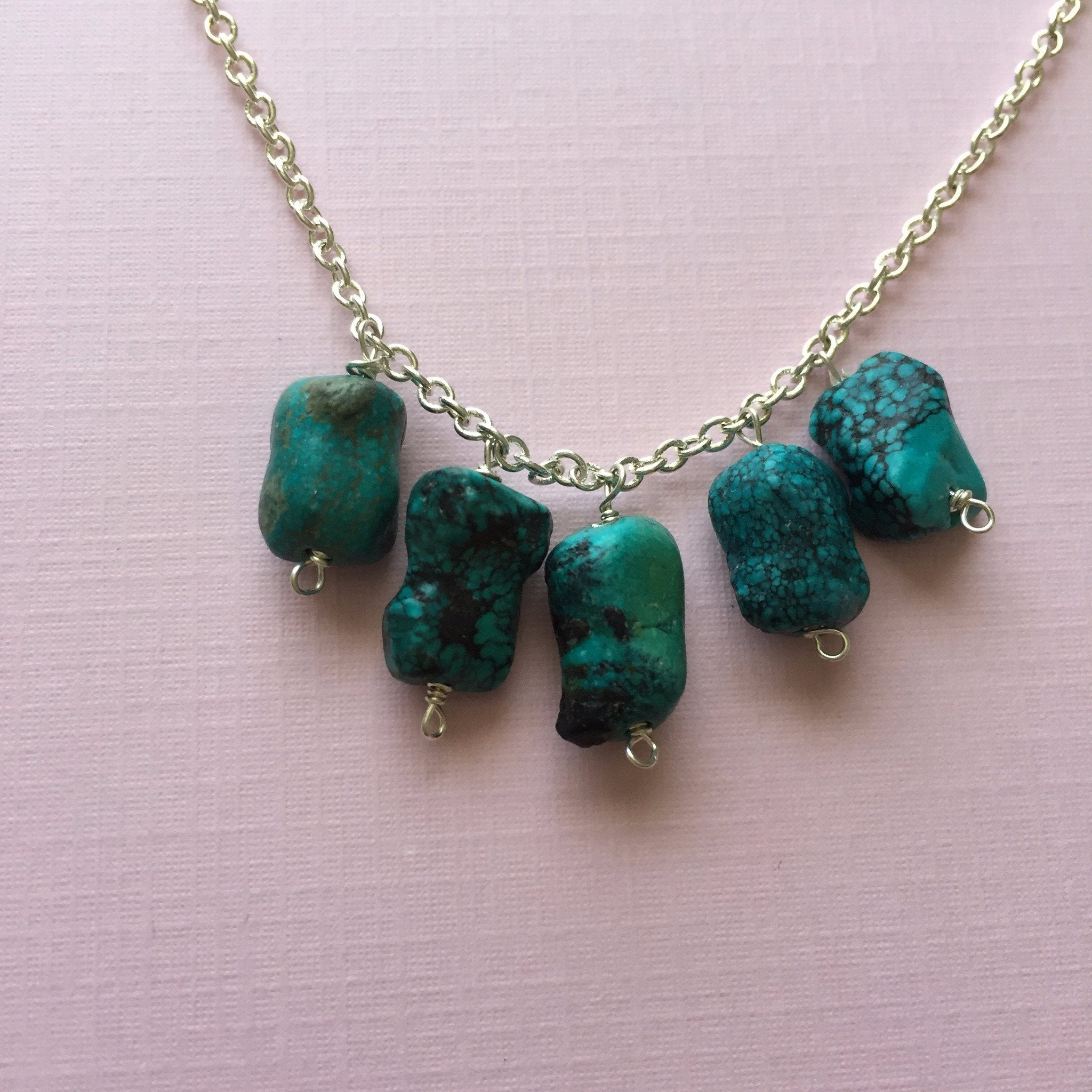 Natural Turquoise Nuggets Necklace