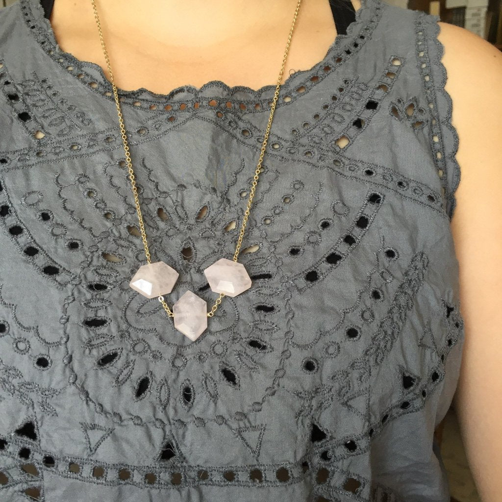 Faceted Rose Quartz Necklace