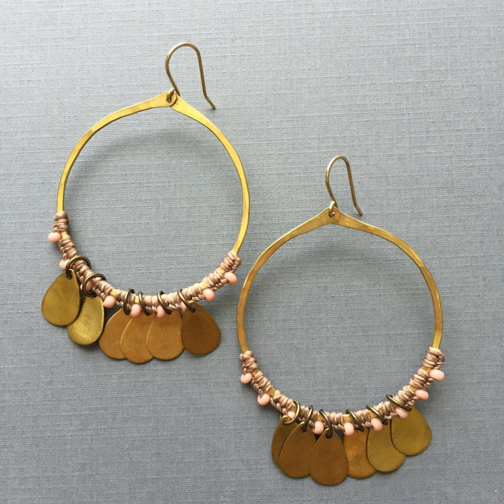 Beaded and Brass Hoops