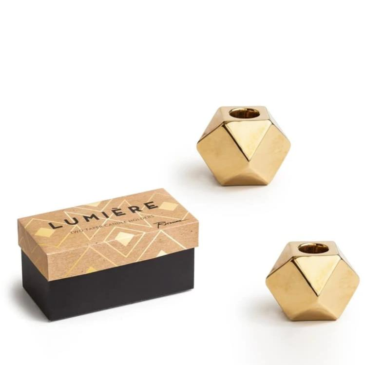 Gold Geometric Candle Holders