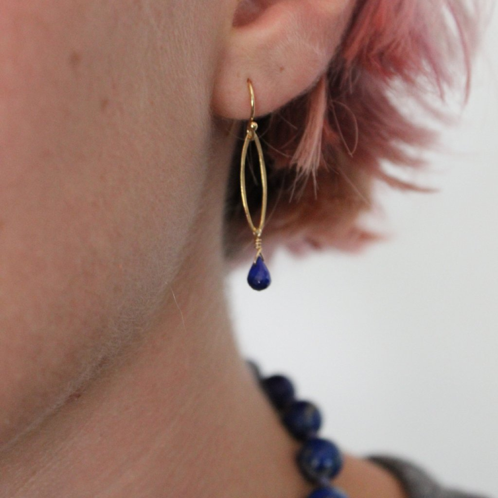Petite Lapis Lazuli Drop Earrings