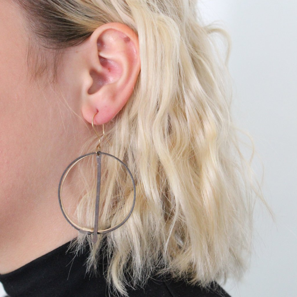 Circle + Line Earrings by Paper Wings