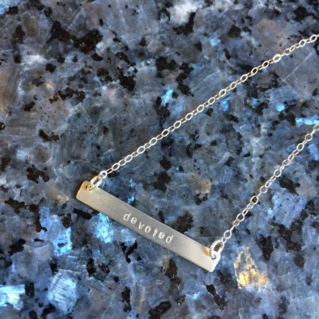 Hand Stamped Devoted Silver Bar Necklace