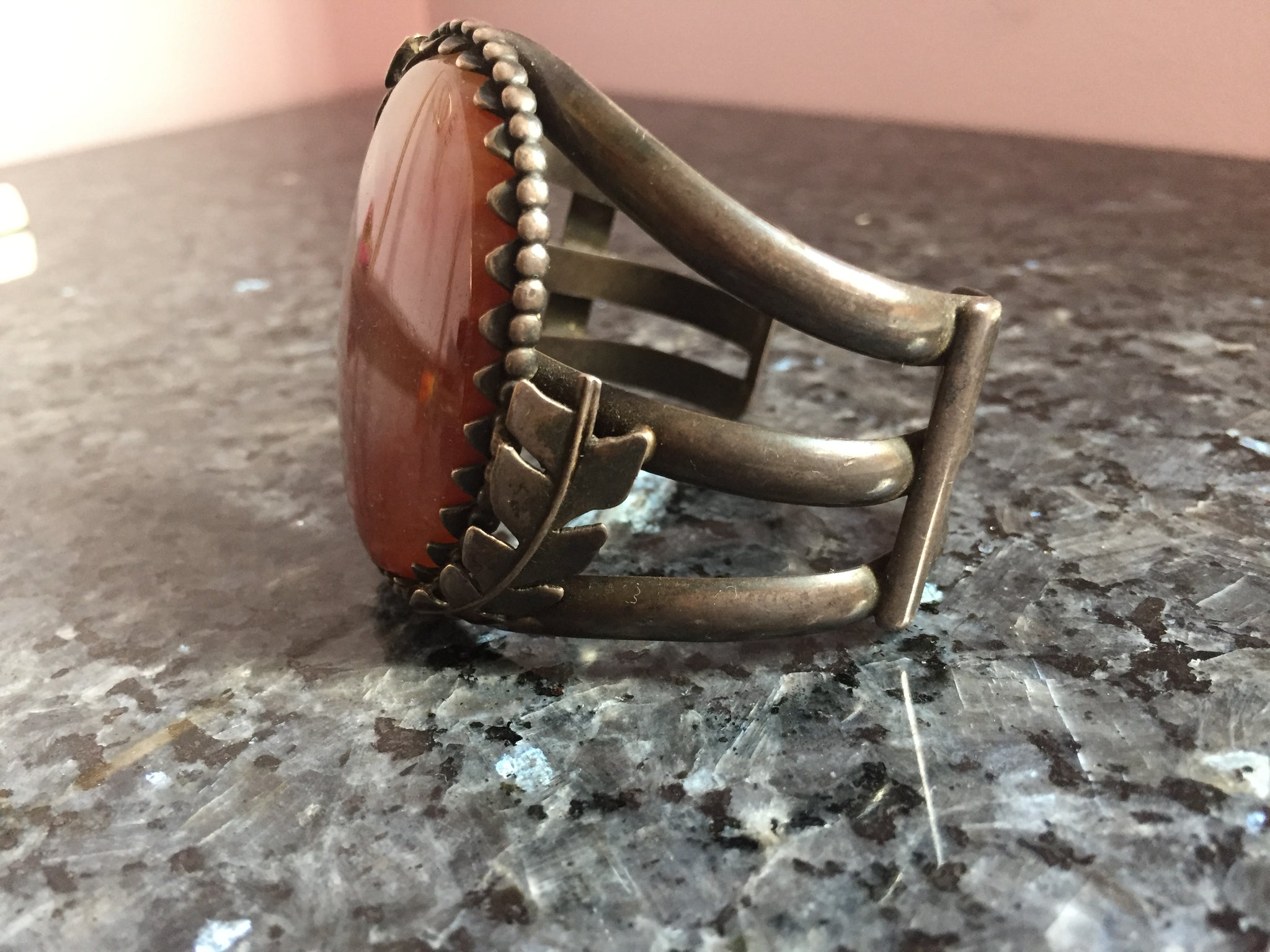 Vintage Sterling Agate Cuff