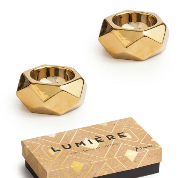 Gold Geometric Tealights