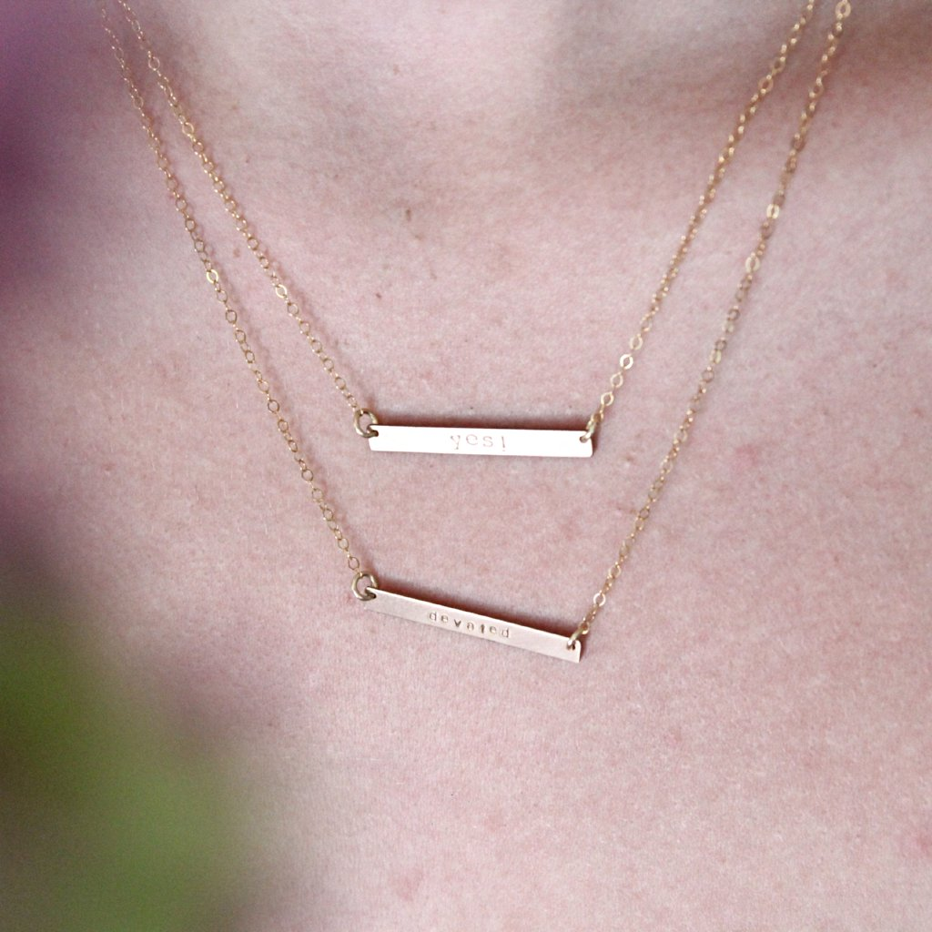 Hand Stamped infinite Silver Bar Necklace