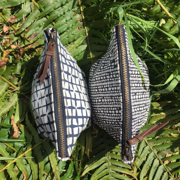 Block Printed Zippered Pouch