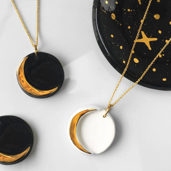 Black & Gold Crescent Moon Necklace