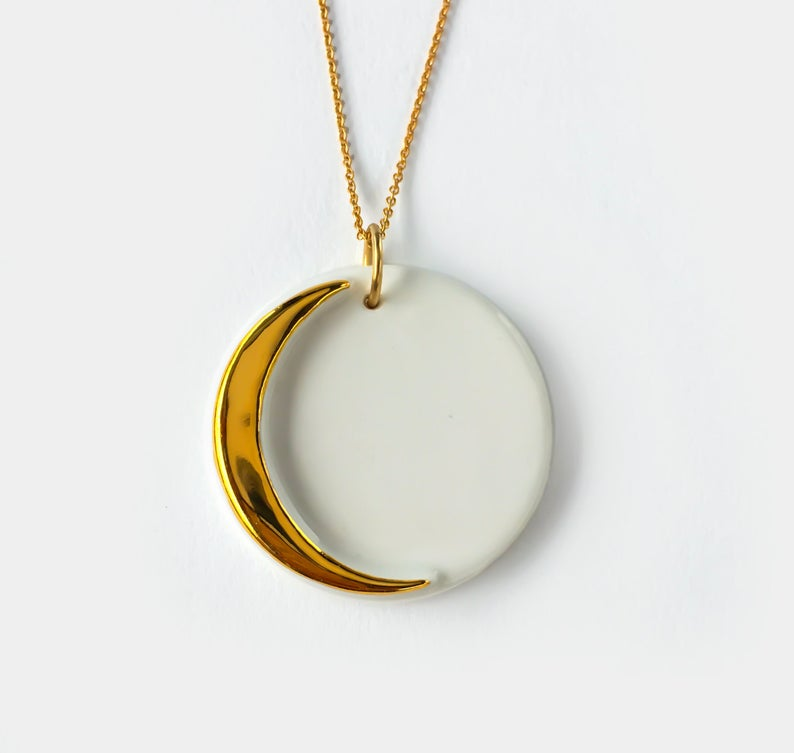 Gold & White Crescent Moon Necklace