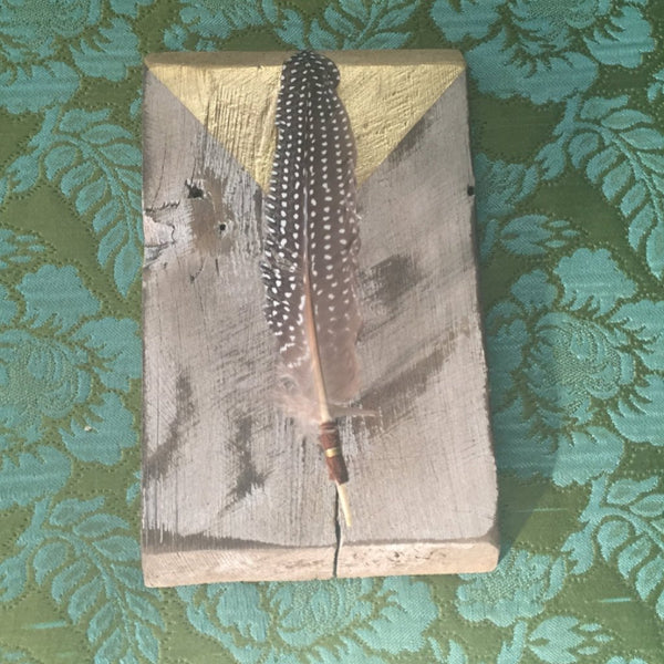 Floating Feather on Reclaimed Wood