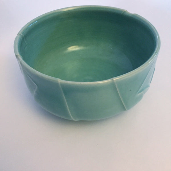 Kelly Pottery Celadon Sculpted Serving Bowl