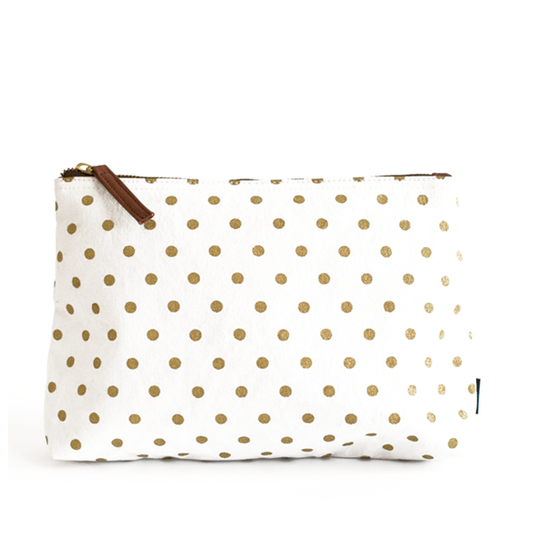Metallic Gold Dots Medium Zippie