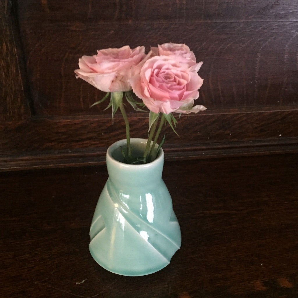 Kelly Pottery Etched Bud Vase