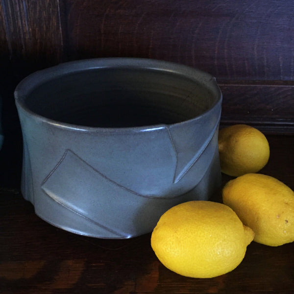 Kelly Pottery Charcoal Sculpted Serving Bowl