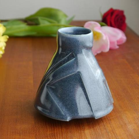 Grey Kelly Pottery Etched Bud Vase