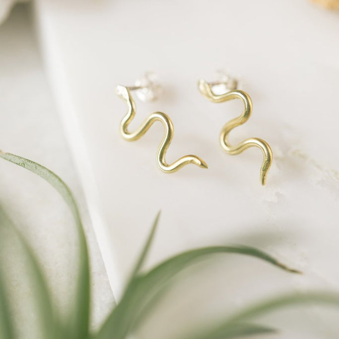 Mini Brass Snake Earrings