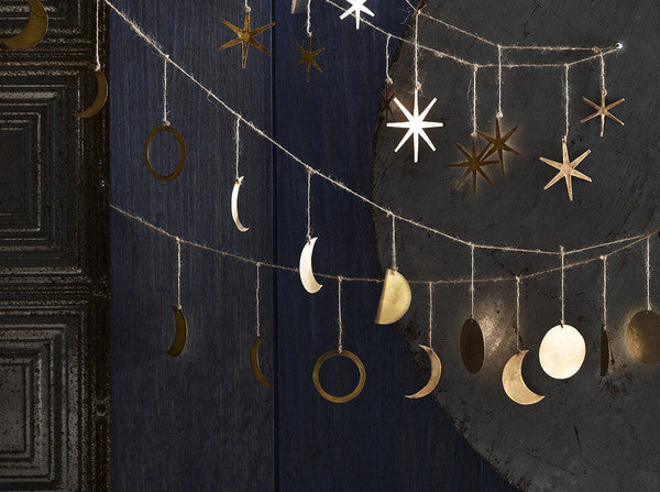 Phases of the Moon Garland in Gold