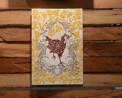 Letterpress Chicken Card