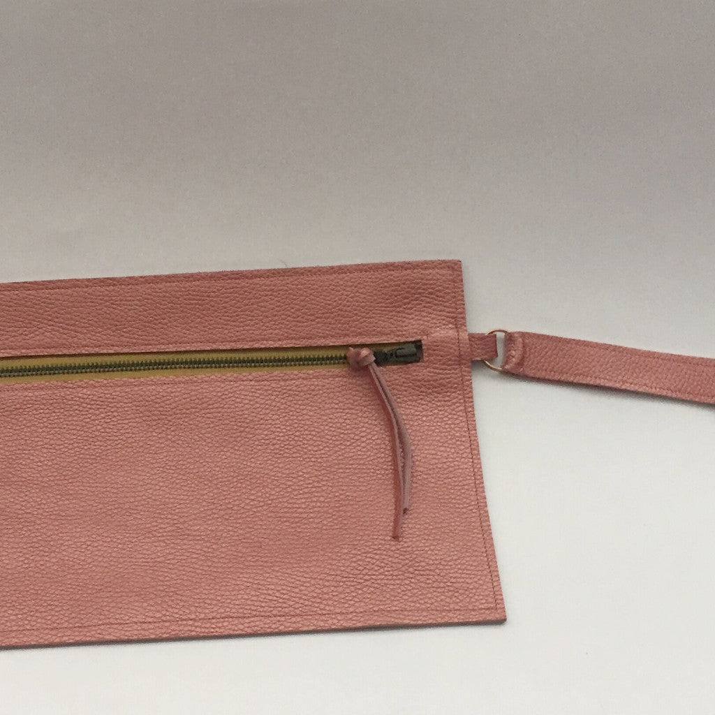 Pink Leather Bag with Wrist Strap