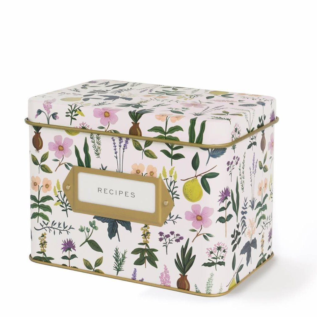 Floral Recipe Tin with Cards