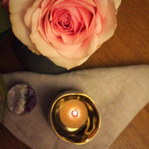 Lilac + Gold Candle Holder