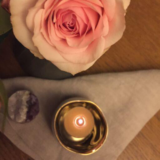 Gold + Robin's Egg Candle Holder
