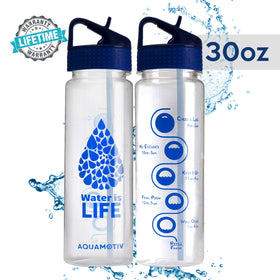 30 oz Angle Flip-n-Flow Straw Inspirational Quote Water Bottle with Motivational Time Tracker (Blue)